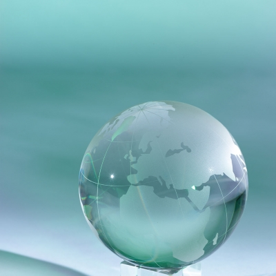still life image of a glass globe