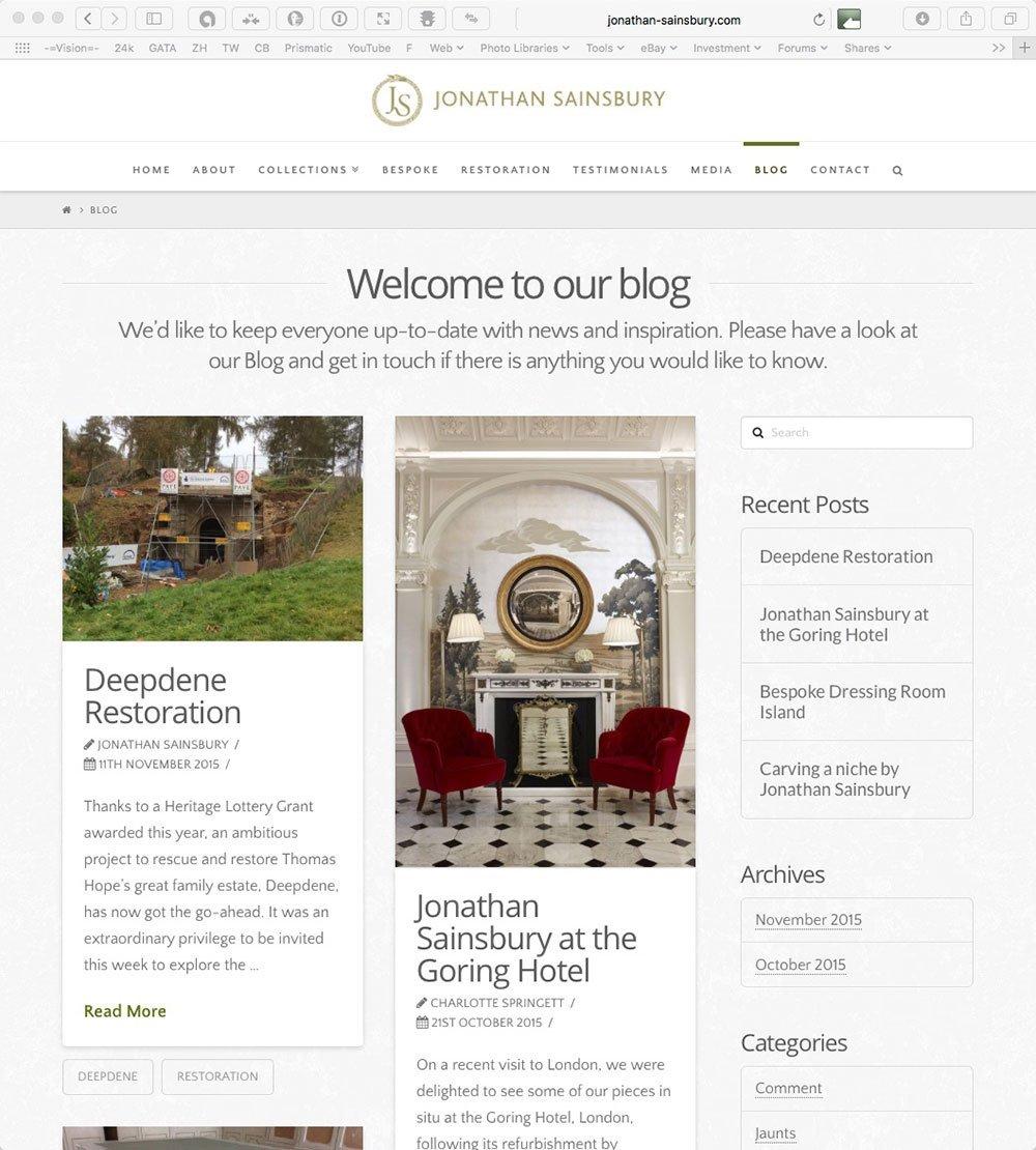 responsive website: history & heritage of Jonathan Sainsbury