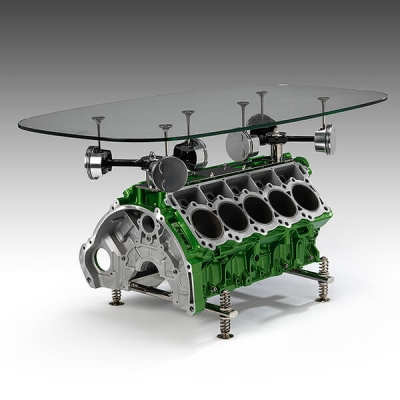 Ornamentum Designs green V10 Engine Table Photograph